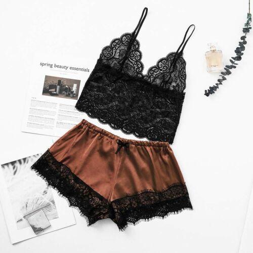 Women Satin Lace V-Neck  Bowknot Shorts Set Sleepwear Pajamas Lingerie S-3XL New