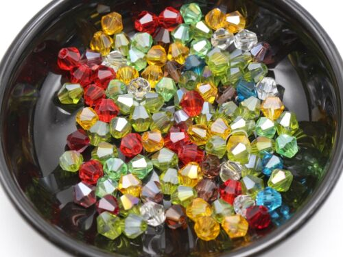 100 pcs Mixed Color Faceted Bicone Bead Crystal Glass Loose Beads 6X6mm