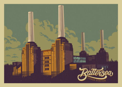 BATTERSEA POWER STATION VINTAGE TRAVEL ART PRINT POSTER # 3 A3//A4 SIZE