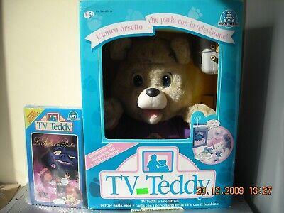 Ordinato Orso Tv Teddy + Cassetta Omaggio Giochi Preziosi Anni '90 Completa In Specifiche