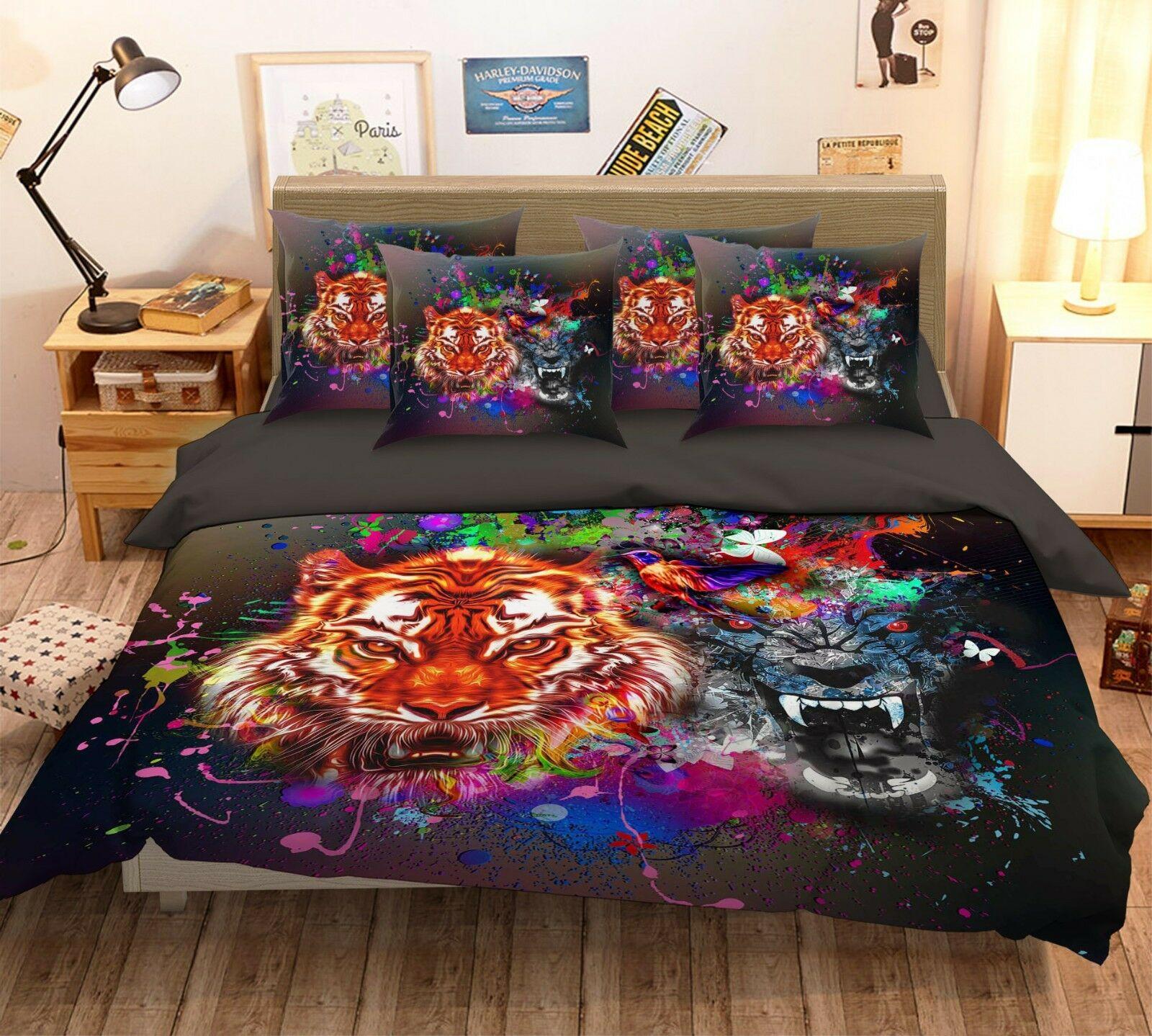 3D Leopard Tiger CKunstoon 6 Bett Pillowcases Quilt Duvet Startseite Set Single Königin US