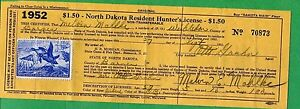 North Dakota 1952 Resident Hunters License Rw19 Federal