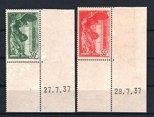 FRANCE-YVERT-354-55-SCOTT-B66-67-034-WINGED-VICTORY-SAMOTHRACE-1937-034-MNH-VVF-T143