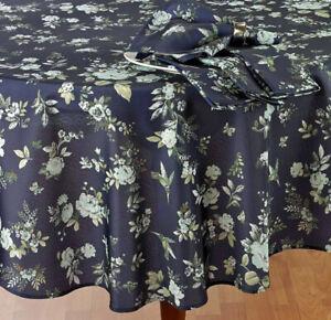 Elegant-Rose-Blossom-Laura-Ashley-Tablecloth-60-034-x-84-034-OVAL-Midnight-Blue