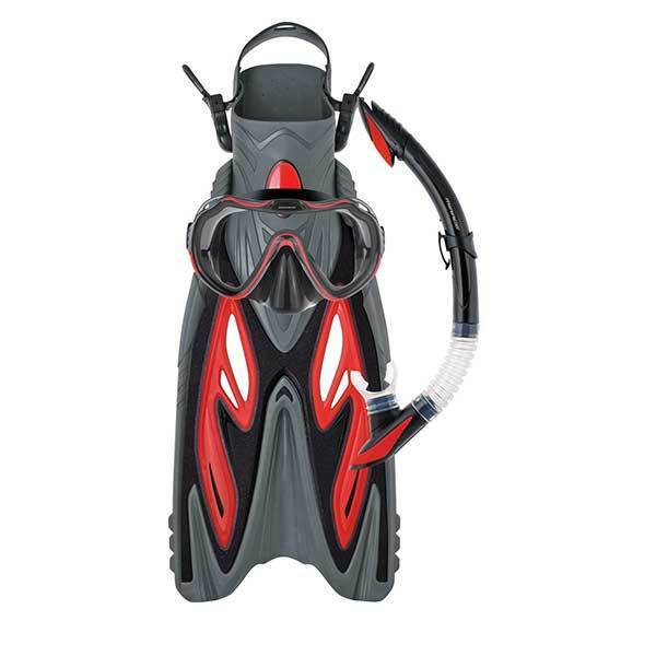 Mirage Diamond Silicone Snorkel Mask Flipper SET Red S M