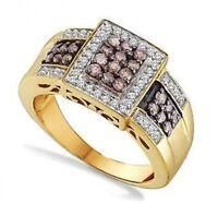Stunning 100% 10k Yellow Gold Genuine Chocolate Brown & White Diamond Ring .65ct