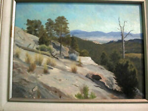 Los Alamos Canyon New Mexico painting Nathan Arnold oil on board framed 14x17