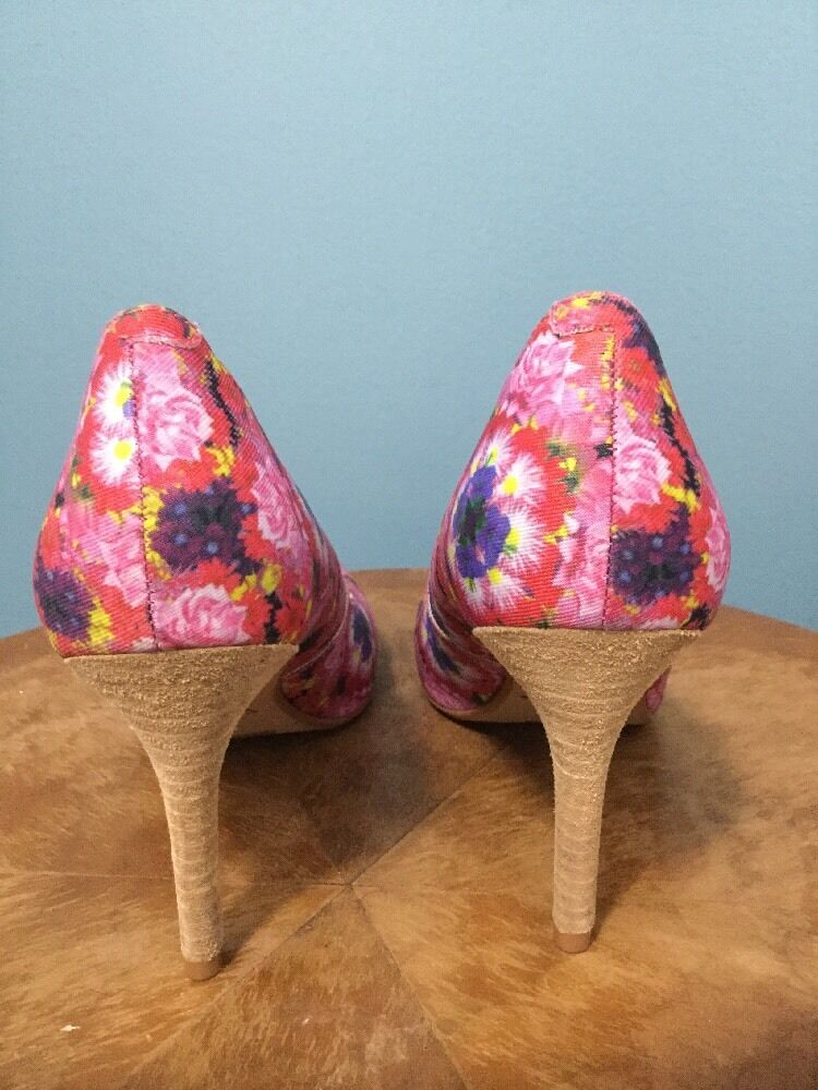 NEW NEW NEW Anthropologie Pink Floral Heels Size 7.5 76c79a
