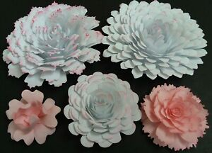 Paper Flowers 3-D Handcrafted 5 pcs Pink DIY Wedding Party Decor Craft Backdrop