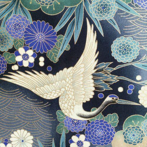 silver grey metallic heron birds Japanese cranes fabric oriental chinese