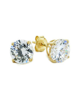 Round Diamonique Cz Solitaire Stud Earrings 14k Yellow Gold Clad 925
