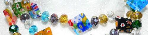 XL LANGE KETTE PULLOVERKETTE Millefiori  RAUTE  multicolor bunt mehrfarbig 269p