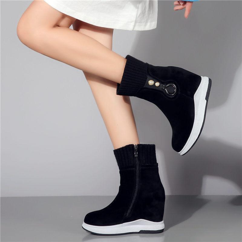 Donna Platform Wedge High Heel Fashion Leather scarpe da ginnastica Hi Top Sport Ankle stivali