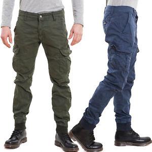 Pantaloni-uomo-cargo-militari-tasconi-laterali-casual-polsini-cotone-nuovi-W1105