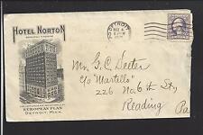 DETROIT, MICHIGAN 1919 WAR RATE COVER,ILLUST ADVT.  HOTEL NORTON.