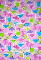 Timeless Treasures Fabric - Retro Martini Drinks Alcohol Glasses Pink Yards