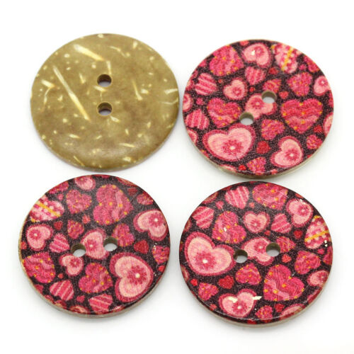 crafts Art sewing 6 Painted Heart Coconut Shell Buttons 30mm Decor,