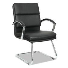 Alera Slim Profile Guest Chair Black Soft Leather Chrome Frame Nr4319 New
