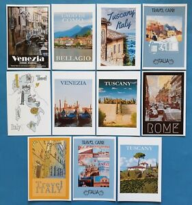 Postcards-Set-of-11-NEW-Stunning-Italian-Reproduction-Travel-Posters-91Q