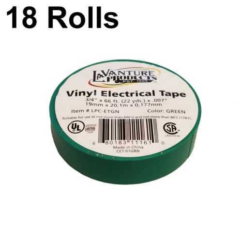 "18 Rolls of Green Electrical Tape 3//4/"" X 66ft Trailer RV Wires LaVanture"