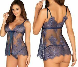 Obsessive-Babydoll-set-ropa-de-noche-camison-String-azul-lenceria-sexy-Hot