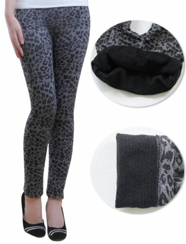 Warme Thermo Damen Leo Leggings Grau Hose Winter Leopard Spitze Norweger S//M