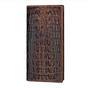 100 genuine leather tail skin crocodile alligator brown bifold mens long wallet ebay. Black Bedroom Furniture Sets. Home Design Ideas