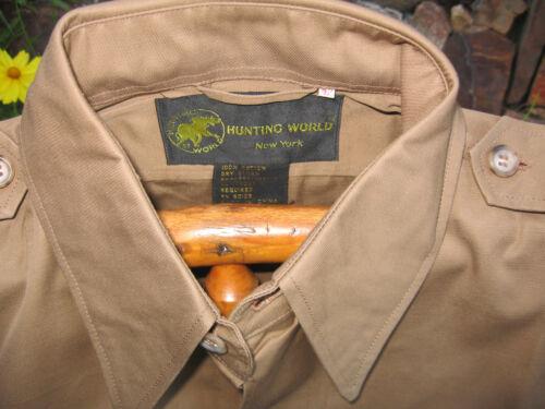 BROKEN BUTTON Vtg HUNTING WORLD NYC Safari Bush Jacket KHAKI 42 Epaulets NOS