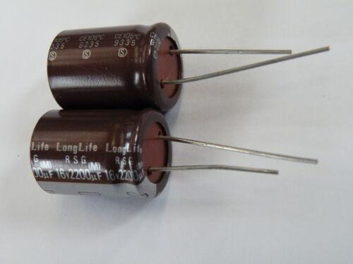 2x Elna Radial Electrolytic Capacitor 16v 2200uF 105 degC Pit7.5mm RH16-2k2 EF17