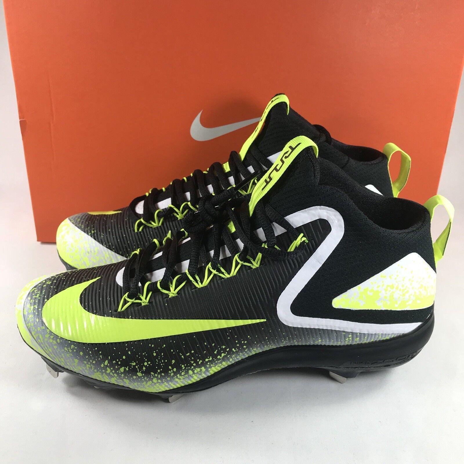 Nike Zoom Trout 3 Metal Baseball Cleats Men's Sz 9.5 Black Volt White 856503-071