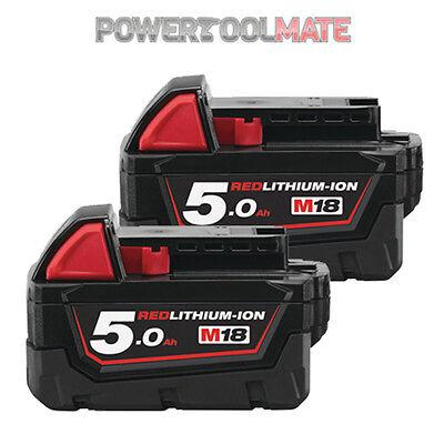 Milwaukee M18B5 X2 *TWIN PACK* 18v 5.0Ah Li-ion Batteries - Genuine