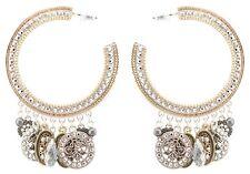 Zest Swarovski Crystal Coin Hoop Pierced Earrings Silver