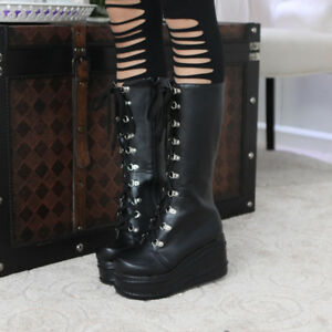 Women-039-s-Punk-Wedge-Heel-Platform-Shoes-Goth-Lace-Up-Biker-Mid-Calf-Boots-Cosplay