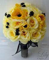 17pcs Wedding Bridal Bouquet Silk Flower Decoration Package Black Yellow Anemone