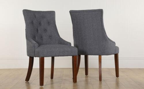 2 4 6 8 Duke Slate Fabric Dining Room Chairs Dark Leg