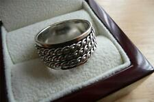 925 STERLING SILVER WIDE SPINNER 3 BAND OR THUMB WOMENS OR MENS RING SZ Q 8.5