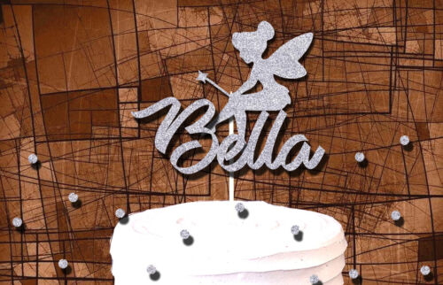 TINKERBELL GLITTER CAKE TOPPER FAIRYTALE BIRTHDAY PARTY DECORATION CUSTOM NAME