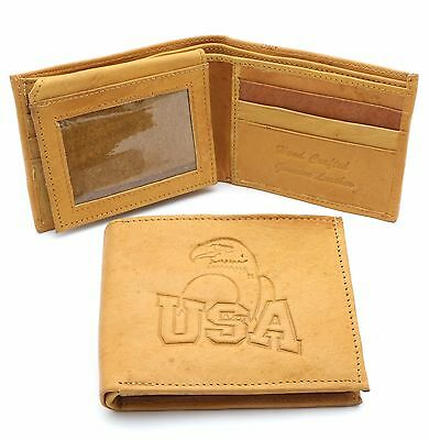 """Bifold Genuine Cow Leather Beige Color Wallet with /""""HAWAII/"""" Embossed Design"""