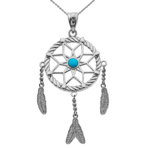 .925 Sterling Silver Turquoise Stone Flower Dream Catcher Pendant Necklace
