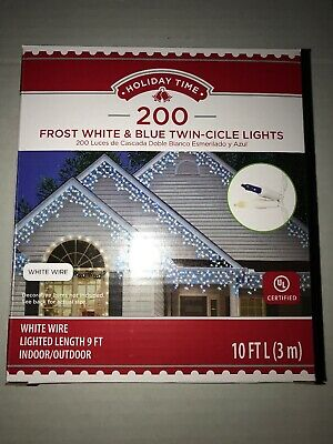300 frost white /& blue twin-cicle lights mini icicle lights white wire NEW