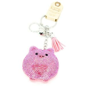 Pave-Crystal-Accent-3D-Stuffed-Pillow-Pink-Heart-Pig-Keychain-Key-Chain