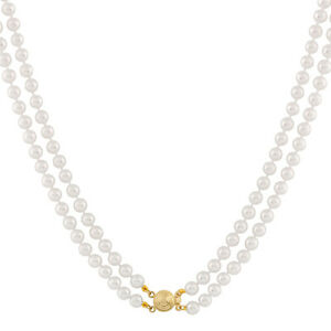 Double-rows-Japanese-cultured-5-6mm-pearl-necklace-with-14k-Gold-clasp