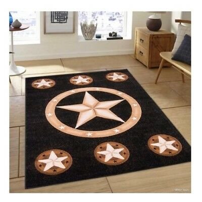 8x10 Texas Western Star Rustic Cowboy Black Brown Area Rug