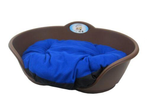 Pesado deber marrón Cama Para Mascotas Con Royal Blue Cojín Reino Unido realizó Perro O Gato cesta