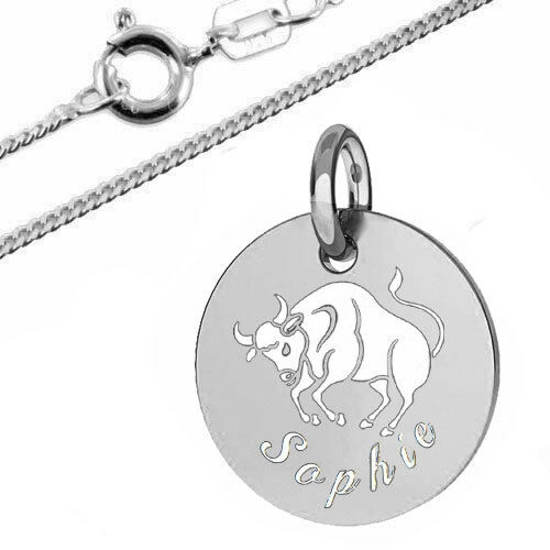 925er Sterling Silber-Inkl Kette Kinder Sternzeichen Anhänger mit pers Gravur
