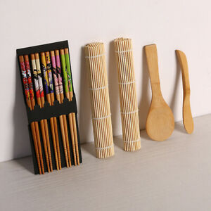 Details About Sushi Roller Bamboo Mat Spoon Chopsticks Maker Food Rolling Tool Kits