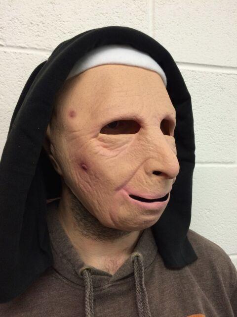 9747e4385 The Town Nun Mask Latex Halloween Fancy Dress Costume Habit Old Woman Female