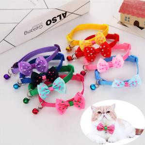 Adjustable-Kitten-Necktie-Collar-Bowknot-Bow-Bell-Tie-Cat-Small-Pet-Puppy-UK