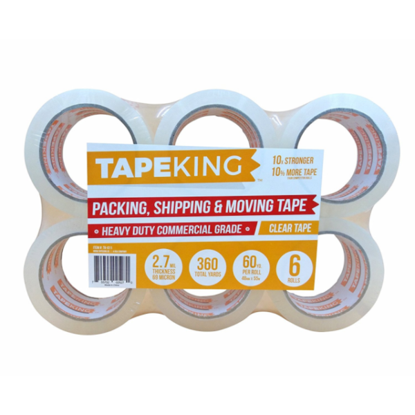 2 Inch Duty 60 Yards Per Roll Tape King Extra Quiet Packing Tape 6-roll Pack