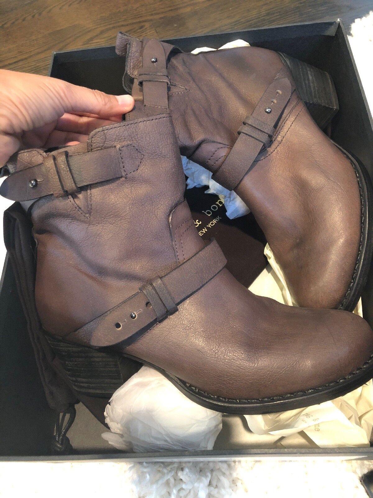 Rag & Bone Harper Moto Boots, Dark Brown Leather Comfy Heels 38 US Sz 8 NIB $550